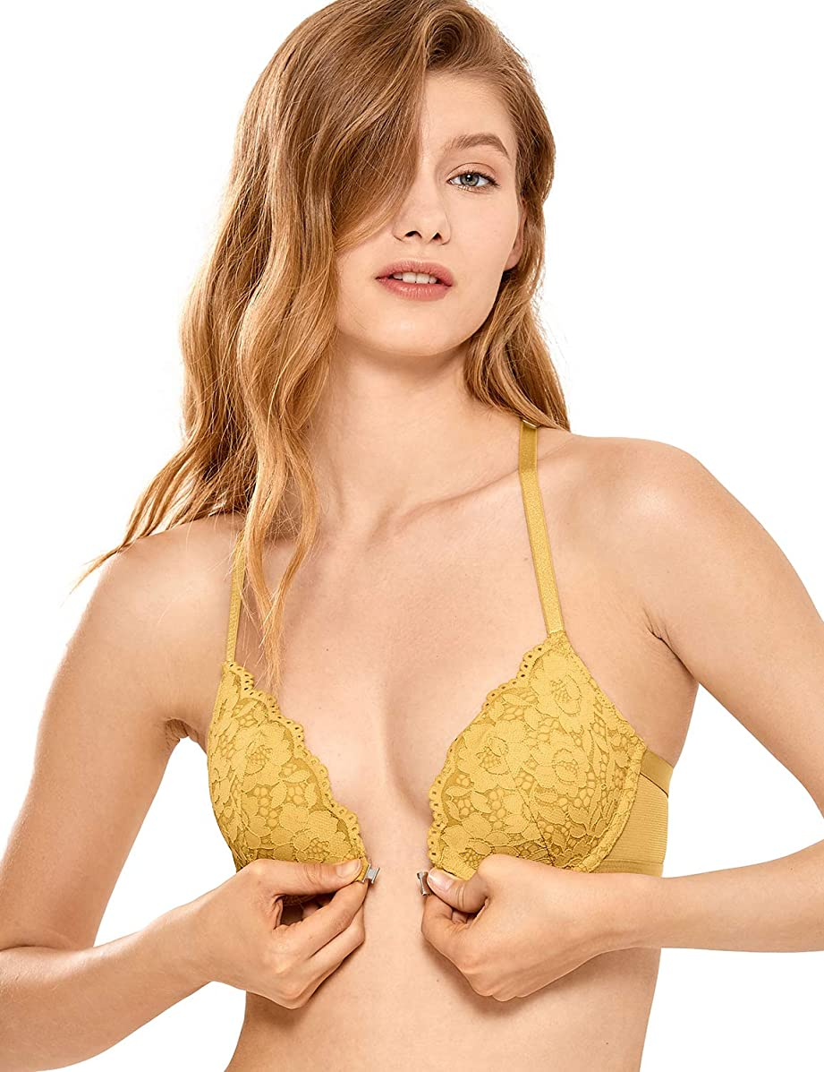 DOBREVA Women's Floral Lace Back Front Closure Padded Push Up Underwire Bra Plunge