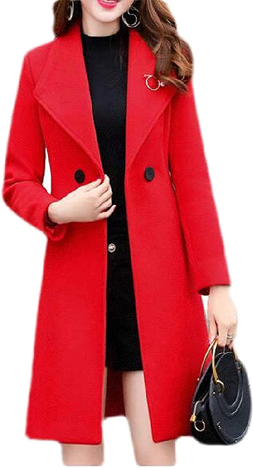 Women Pea Coat Fall Winter Slim Trench Length Mid Fit Wool 100% quality warranty! Blend Purchase
