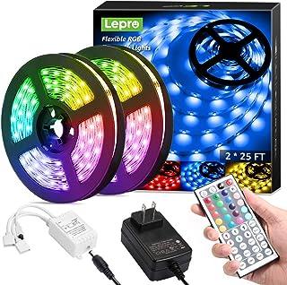 Lepro LED Strip Lights, 50ft RGB 5050 LED Strips with Remote Controller, Color Changing Tape Light with 12V Power Supply for Room, Bedroom, TV, Kitchen, Desk