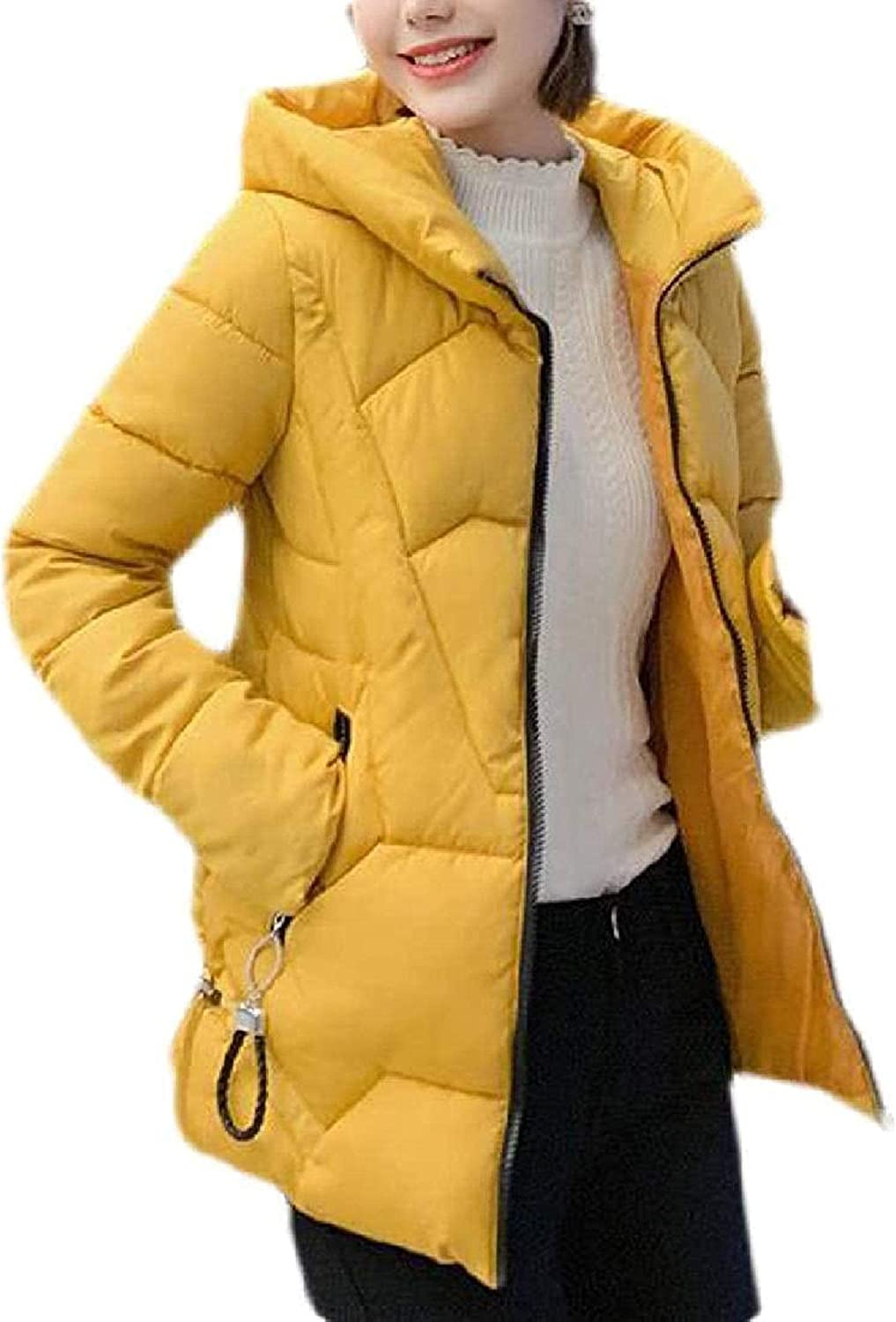Women Hooded Down Coat Quilted Cotton Padded Winter Outerwear Short Down Jacket