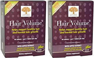 New Nordic US Inc Hair Volume With Apple Extract (Pack Of 2) Biotin, Zinc, Copper, Apple, Horsetail and Millet Extract, 90...