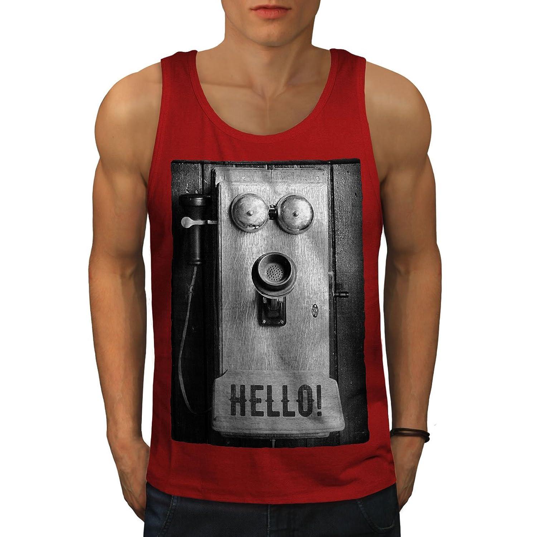 Wellcoda こんにちは 電話 古い ビンテージ 男性用 S-2XL タンクトップ