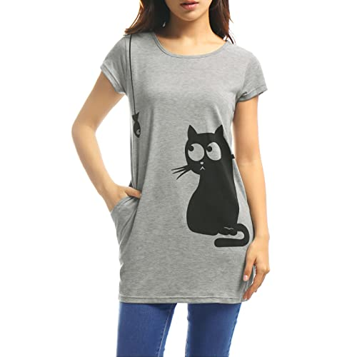 8d99ce398 Allegra K Women's Round Neck Short Sleeves Contrast Cartoon Cat Print Tunic  Tops