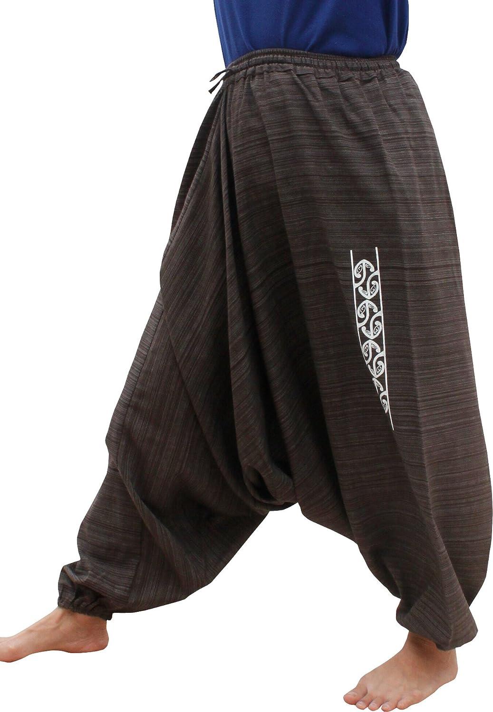 RaanPahMuang Elastic Pullstring Waist and Ankles Aladdin Harem Pants Koru Print