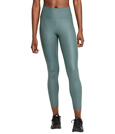 Nike One Mid-Rise 7/8 Faux Leather Tights (Hasta/Dark Teal Green) Women