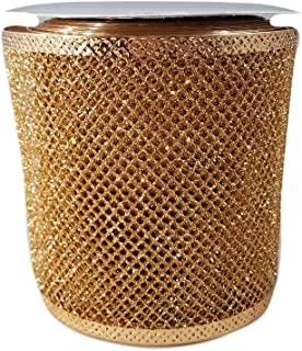 Wired Metallic Glitter Ribbon for Bows, Wreaths, Crafts, Holiday Decorations, 4 Inches x 25 Feet (Gold Mesh)