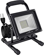 GLORIOUS-LITE 30W LED Work Light, 3000LM Super Bright Flood Lights, 240W Equivalent, IP66 Waterproof, 16ft/5m Cord with Pl...