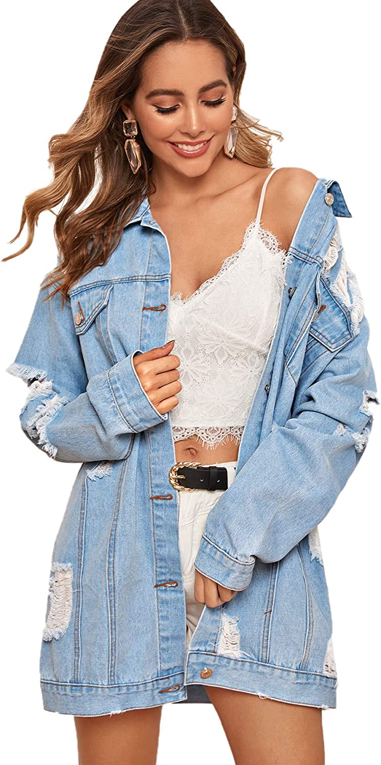 Floerns Women's Oversized Denim Ranking TOP12 Distresse Special price for a limited time Long Jacket Boyfriend