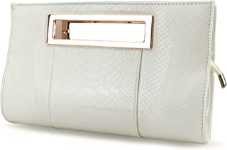 Hoxis Classic Crocodile Pattern Faux Patent Leather Metal Grip Cut it out  Clutch with Shoulder Strap 9aeacc9db416d