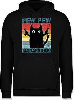 Shirtracer - Statement - Pew Pew Madafakas Katze Vintage - Herren Hoodie und Kapuzenpullover für Männer