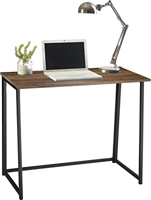 Urban Shop Folding Computer Desk- No Tools Assembly, Wood Top with Black Legs