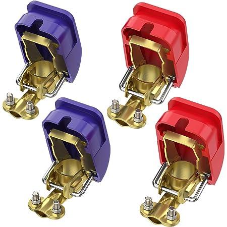 Enrise 12v 24v Batterie Polklemmen Batterieklemmen Steckverbinder Mit Flügelmutter 1 Paar Auto