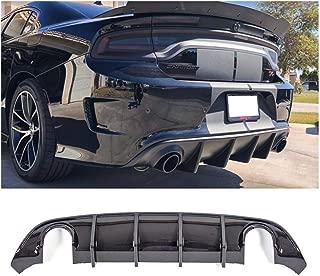 Rear Bumper Diffuser Carbon Fiber style Fits 2015-2019 Dodge Charger SRT Scat Pack,Daytona OE Style Rear Lip Bumper Valance Diffuser PP