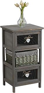IDIMEX Commode Maurice Rangement 2 tiroirs et 1 Panier étagère en Bois de Paulownia Style Shabby Chic Vintage Rustique Rom...