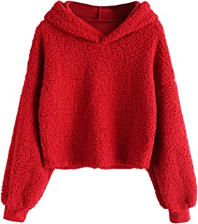 Women Crop Hoodies Fluffy Boxy Solid Color Short Pullover