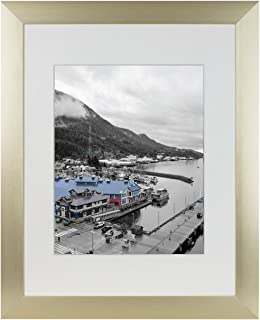 Golden State Art, Gold Color Satin Aluminum Landscape Or Portrait Picture Frame with Ivory Color Mat & Real Glass (11x14)