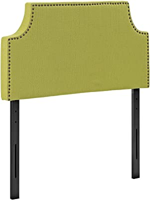 Modway Laura Upholstered Fabric Headboard Twin Size With Cut-Out Edges and Nailhead Trim in Wheatgrass