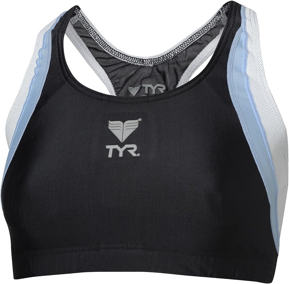 TYR Multisport Women's Splice Maxback Workout Bikini Top, Black