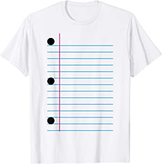 3 Hole Punch Lined Paper Funny Back to School Halloween T-Shirt