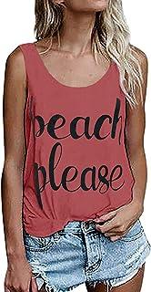 Beautife Womens Tank Tops Summer Sleeveless Casual Crewneck Funny Short Tee T Shirt