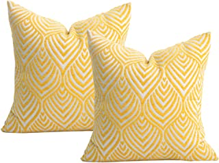 Original Pro Yellow Pillow Covers Chenille Plush Decorative Pillow Covers Geometric Textured Waves Striped Pillow Cases for Sofa Couch Bed 18x18 inches Pack of 2