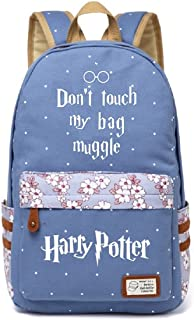 JUSTRHICE Korean Casual Canvas Backpack Laptop Bookbag School Bag Daypack for Harry Potter Cosplay (Light Blue 4)