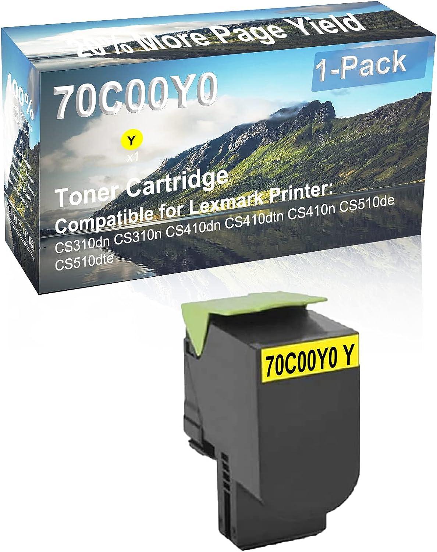 1-Pack (Yellow) Compatible CS410dtn, CS410n Printer Toner Cartridge High Capacity Replacement for Lexmark 70C00Y0 Toner Cartridge