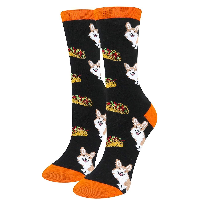 Women's Novelty Funny Unicorn Corgi Alien Teeth Crew Socks, Cat Cactus Crazy Food Taco Donuts Hot Lips Socks