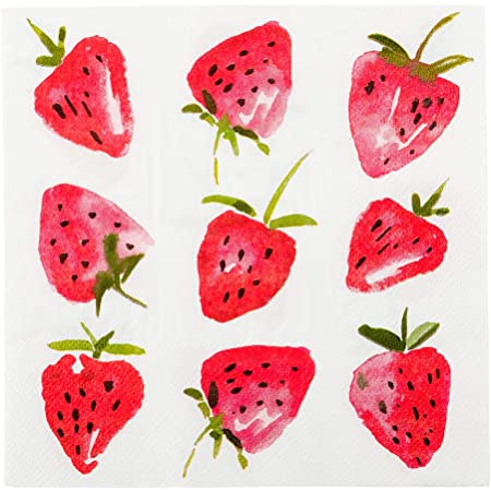 Set of 16 Paper Party Tableware Strawberry Napkins