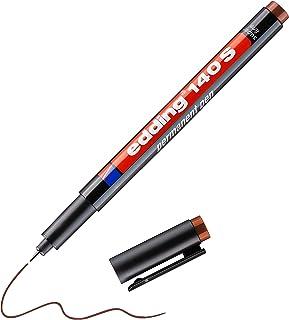 edding 140 S feutre permanent - marron - 1 stylo - pointe ronde 0,3mm - stylo pour écrire sur du verre, du plastique, des ...