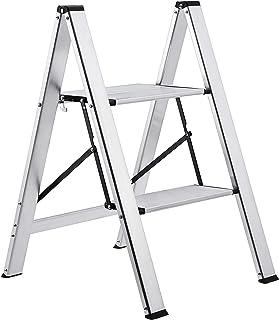 AmazonBasics Lightweight Step Stool - 2-Step, Aluminum, 200-Pound Capacity, Silver