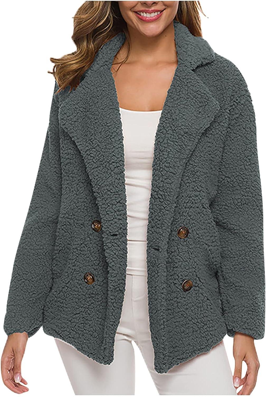 BZSHBS Womens Coats Faux Fur Fuzzy Fleece Lapel Open Front Warm Winter Outwear Jackets with Pockets