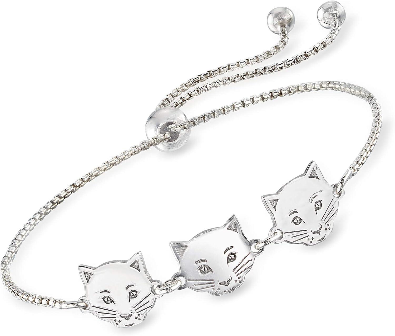 Dallas Mall Popular popular Ross-Simons Italian Sterling Silver Bracelet Bolo Cat Trio