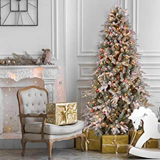 ANOTHERME 7.5ft Pre-lit Christmas Tree Snow Flocked, Feel Real, 700 Warm Lights UL Certified, Red Berries Hinged Artificial Trees