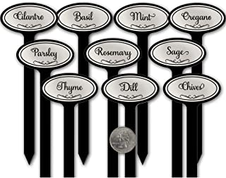 Red Tail Crafters Oval Top 08in Engraved Flexibrass Acrylic Herb Garden Stakes Plant Markers Silver