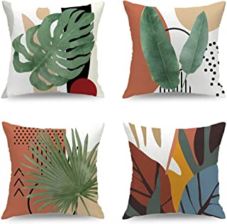 18 in x 18 in a Set of 4 Memphis Style Geometric Green Leaf Pattern Throw Pillowcase Outdoor Party Decoration Pillow Cover...