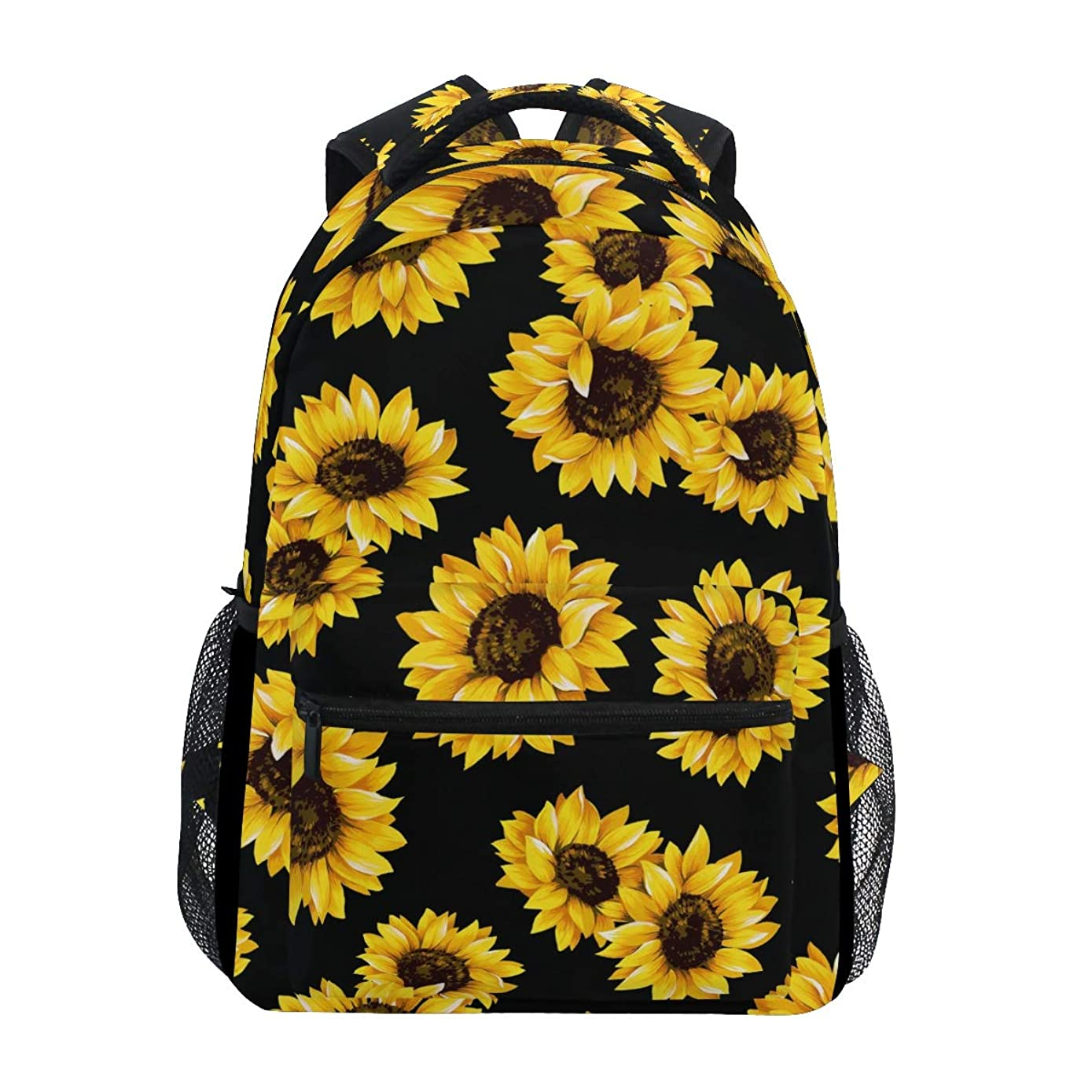 Backpack Yellow Blooming Sunflowers Black Canvas School Bags Laptop Daypack