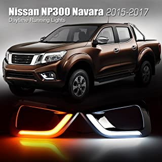 2Pcs 12V LED Daytime Running Light Two Color with Turn Signal Light Fit for Navara NP300 15-18 Aramox Daytime Running Lamp