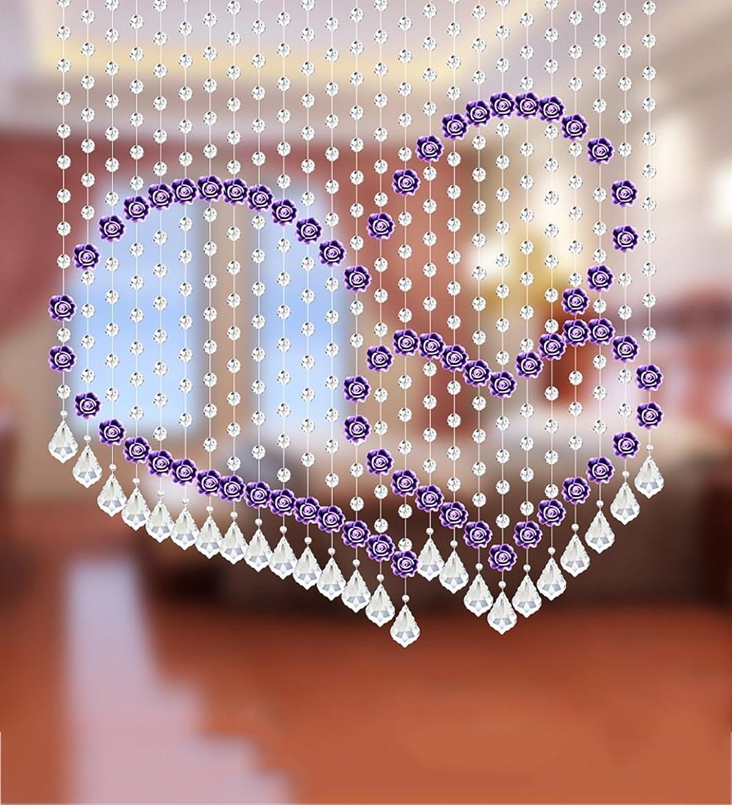 誠実さアラスカキャロラインLIQICAI ウェディングインテリアShopwindow、332.5 * 120CM、4色をご利用のロマンチックなビーズカーテンダブルハートシェイプクリスタルルームディバイダーを愛する (Color : Purple)