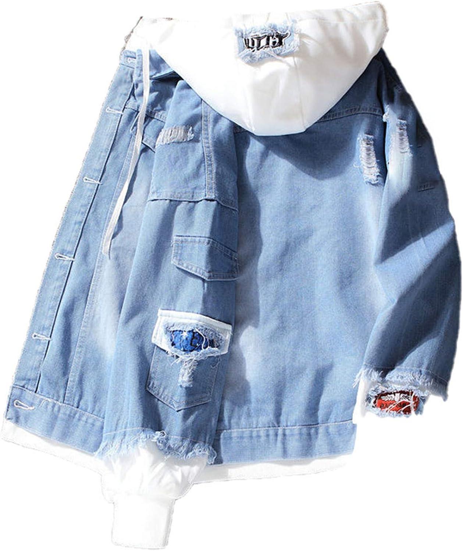 Casual Jean Jacket Men Denim Long Sleeve with Nood Patchwork Cotton Streetwear Bomber Jacket