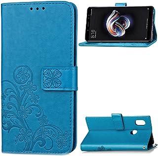 LAGUI Funda Adecuado para Xiaomi Redmi Note 5 Pro, Los Adornos Bien Definidos y Grabados Carcasa Tipo Libro, de ranuras para tarjetas y soporte horizontal y solapa con cierre magnético, azul