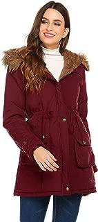 Women's Hooded Warm Winter Faux Fur Lined Parkas Long Coats Jacket Overcoat Fleece Outwear with Drawstring