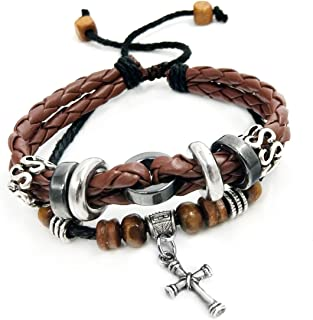 Suyi Multilayer Adjustable Leather Woven Braided Bangle...
