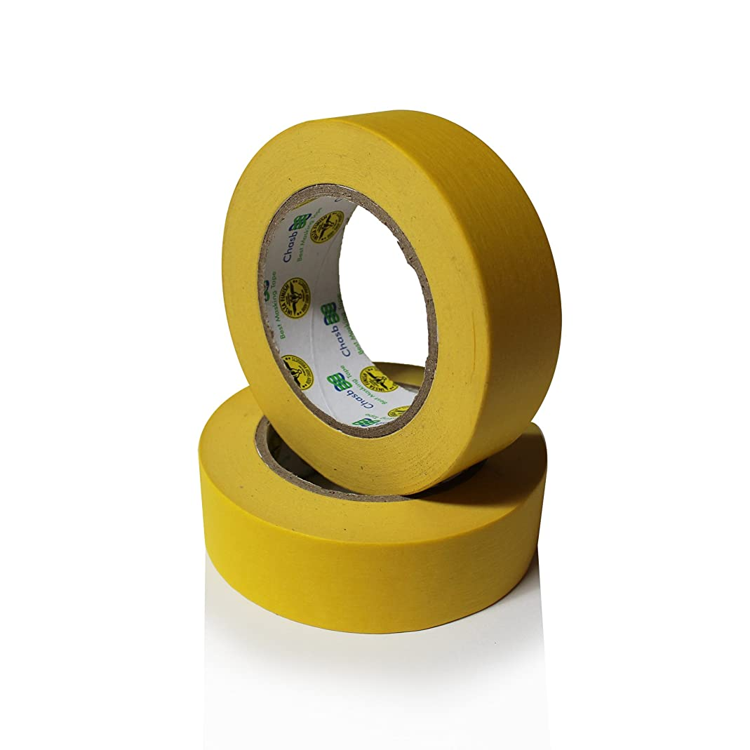 Insta Finish Performance Yellow Masking Tape (1.5 inch x 60 yards) 1 Case of 24 Rolls - Crepe Paper Industrial Grade - Easy Release Auto Body Tape 1.5
