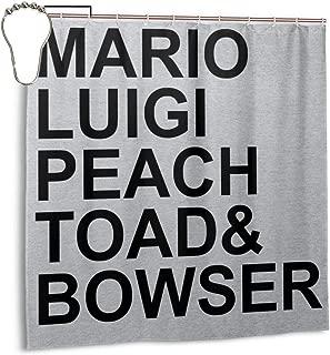 ENXIANGXIJ Waterproof Polyester Fabric Shower Curtain Su-per Ma-Rio Character List Print Decorative Bathroom Curtain with Hooks,72