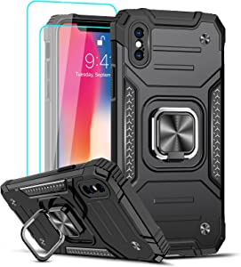 LeYi Compatible with iPhone X Case, iPhone Xs Case with [2 x Tempered Glass Screen Protector] for Men Women, [Military-Grade] Protective Phone Cover Case with Ring Kickstand for iPhone X/XS/10, Black