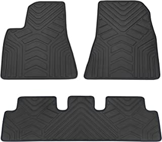 San Auto Car Floor Mats Custom Fit for Tesla Model 3 2017 2018 2019 Full Black Rubber Car Floor Liners Set All Weather Protection Heavy Duty Odorless