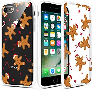 Caka Christmas Case for iPhone 7, iPhone 8 Clear Floral Case with Christmas Design for Girls Women Girly Cute Slim Soft Premium TPU Transparent Protective Case for iPhone 7/8 (Gingerbread Man)