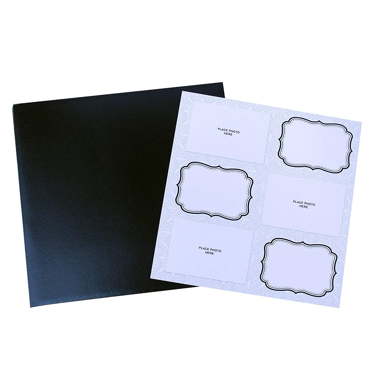 Photo Booth Album Black Leatherette with 10 Sheets (Abstract White Design Pages 4x6)