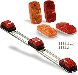 9 LED ID Light Bar and Trailer Lights Set of 4, Waterproof and Submersible Clearance and License Plate Markers, Red Taillights for Rear and Side of Truck, Boat, Camper, Pickup, RV, Surface Mount